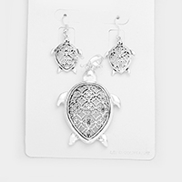Filigree Turtle Cross Pendant Set