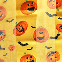 Silk Feel Striped Halloween Pumpkin Print Scarf