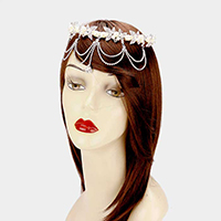 Draped Crystal Rhinestone Leaf Pearl Headpiece