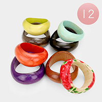 12 PCS - Flower Wood Bangle Bracelets