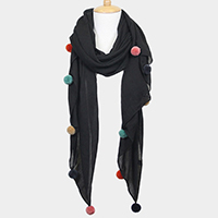 Solid Oblong with Multi Colored Pom Pom Scarf