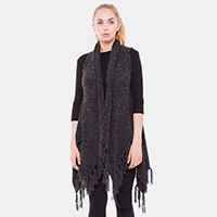 Wool Feel Fringe Tassel Vest