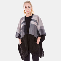 Fleece Plaid Pockets Ruana
