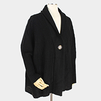 Solid Soft Knit Collar Button Cardigan