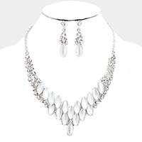 Marquise Cloudy Oval Stone Vine Necklace