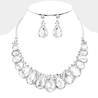 Marquise Teardrop Glass Stone Statement Necklace