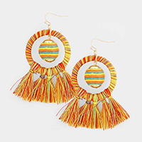 Fringe Tassel Thread Ball Dangle Earrings