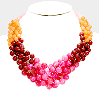 Braided Multi Color Bead Necklace