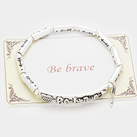 Be Brave Embossed Arrow Metal Stretch Bracelet