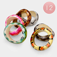 12 PCS -Animal Pattern Wood Bangle Bracelets