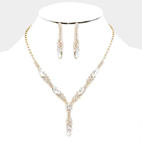 Marquise Pave Crystal Rhinestone Y Collar Necklace