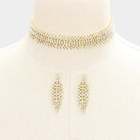 Pave Crystal Rhinestone Choker Necklace