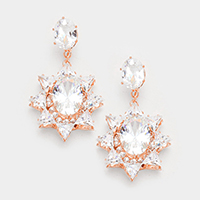 Cubic Zirconia Sun Dangle Evening Earrings