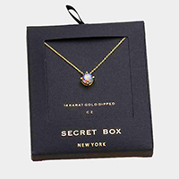 Secret Box _ 14K Gold Dipped CZ Round Pendant Necklace