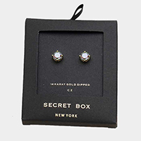 Secret Box _ 14K Gold Dipped CZ Round Stud Earrings