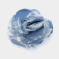 Denim Lace Flower Hair Clip / Brooch