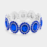 Rhinestone Trim Oval Glass Stone Stretch Bracelet