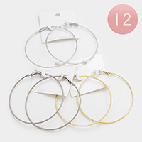 12 Pairs - Metal Hoop Earrings