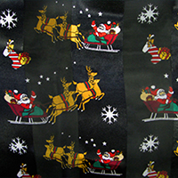 Silk Feel Striped Santa Claus Rudolph Print Scarf