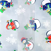 Silk Feel Striped Snowman Print Scarf