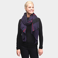 Plaid Frayed End Oblong Scarf