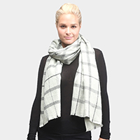 Solid Plaid Oblong Scarf