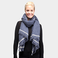 Solid Double Lines on Edge Oblong Scarf