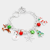 Enamel Christmas Charm Toggle Bracelet