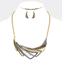 Embossed Triangle Fan Shaped Metal Statement Necklace