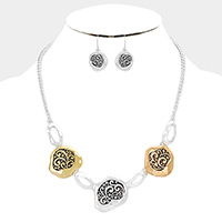 Embossed Abstract Metal Link Statement Bib Necklace