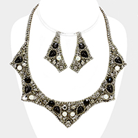Rhinestone Bead Collar Evening Marquise Necklace