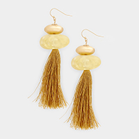 Bead Drop Tassel Earrings
