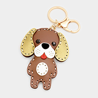 Faux Leather Puppy Keychain