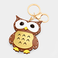 Faux Leather Owl Keychain