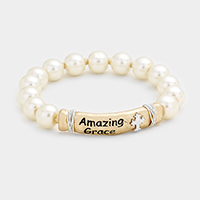 Amazing Grace Metal Bar Pearl Stretch Bracelet