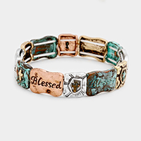 Blessed Cross Metal Stretch Bracelet