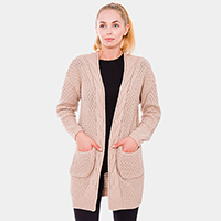 Cable Knit Pockets Long Cardigan