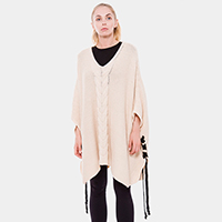 Cable Knit String Poncho