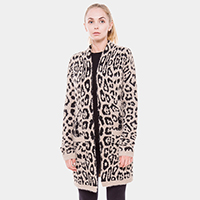 Very Soft Fur Feel Animal Print Pockets Long Cardigan