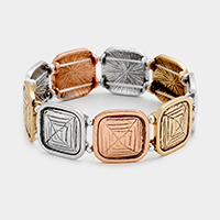 Patterned Square Metal Stretch Bracelet