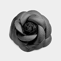 Faux Leather Flower Brooch