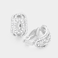 Pave Crystal Rhinestone Clip on Earrings
