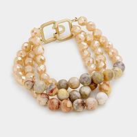 3 Row Semi Precious Faceted Bead Bracelet