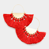 Half Round Metal Fringe Fan Tassel Earrings
