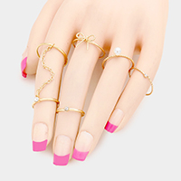 5 PCS - Bow Pearl Chain Connected Rings
