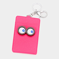 Faux Leather Eyes Card Holder Keychain