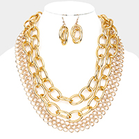 Layered Metal Chain Statement Necklace