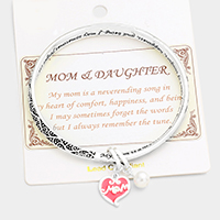 Mom & Daughter Embossed Charm Metal Bracelet