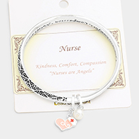 Nurse Embossed Charm Metal Bracelet