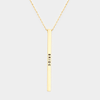 Bride Metal Bar Pendant Necklace